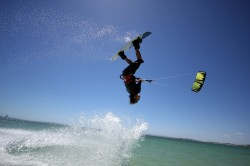 Not just a big air junky Lewis throws it down wakestyle with his kite LOW...